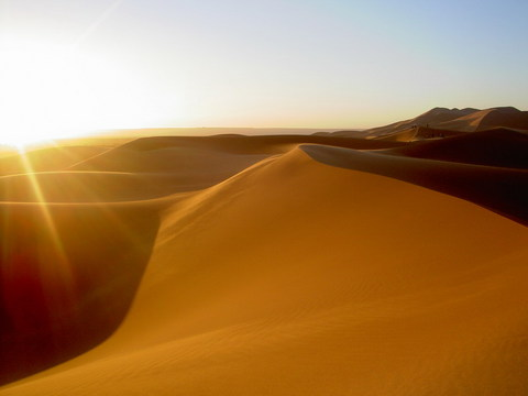 Sunrise over the desert in Morrocco