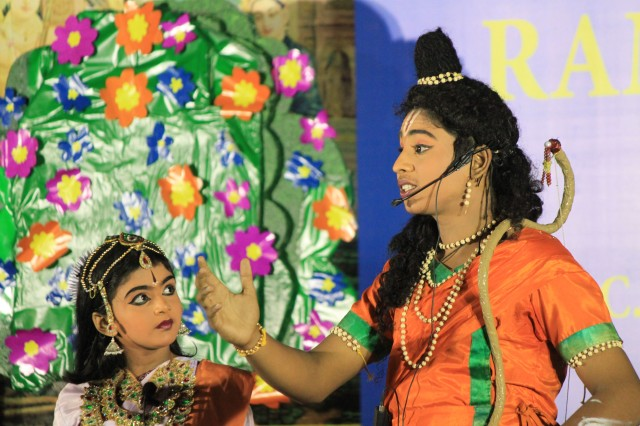 Grove School students re-enact a scene from the Ramayana