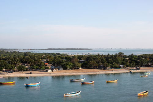 Boats seen from Pamban Bridge