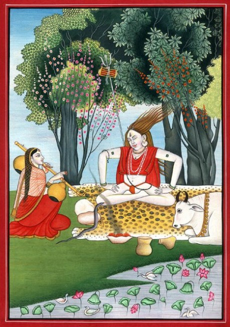 Lord Shiva meditating in bliss while Devi Parvati plays the vina