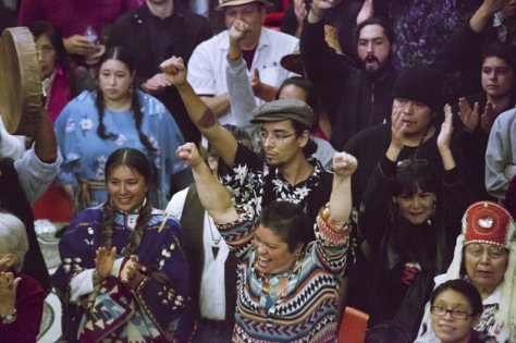 SEATTLE, WA - OCTOBER 13: People cheer during Indigenous Peoples' Day celebrations at the Daybreak Star Cultural Center on October 13, 2014 in Seattle, Washington. Earlier that afternoon, Seattle Mayor Ed Murray signed a resolution designating the second Monday in October to be Indigenous Peoples' Day, instead of teh traditional Columbus Day. (Photo by David Ryder/Getty Images)