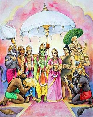 Rama, Sita, Lakshman and Hanuman return to Ayodhya