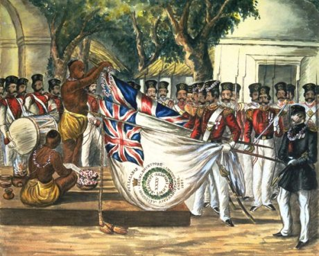 Brahmins blessing British military flags in Calcutta