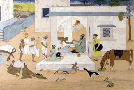 Mogul agent collecting the jizyah tax from Hindus.